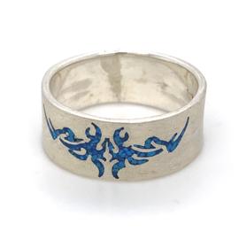 Zilveren ring tribal turquiose mt 21,25 x 10 mm