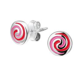 Zilveren oorsteker rondje met roze