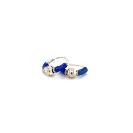 Zilveren creolen donker blauw en bolletje 10 mm
