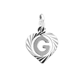 Zilveren bedel hartje met de letter G