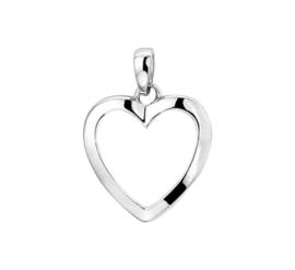 Zilveren bedel open hart gerhodineerd