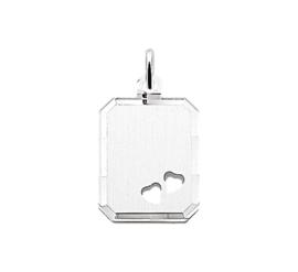 Zilveren graveerplaatje rechthoek hartjes 14 x 18 mm
