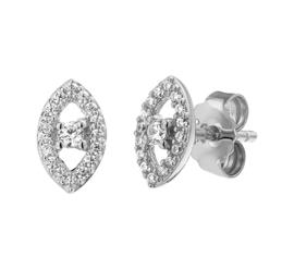Zilveren oorknoppen oog met zirkonia