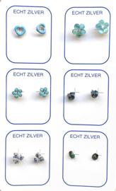 Zilveren oorknopjes variatie blauw