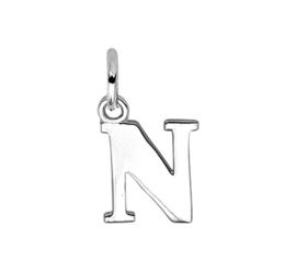 Zilver hanger letter N gerhodineerd
