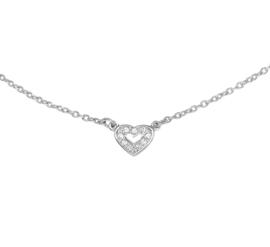 Zilveren ketting hart en zirkonia 36 - 40 cm - kleine maat