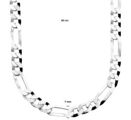 Zilveren kettingen Figaro 7,0 mm x 50 - 60 cm (dik)