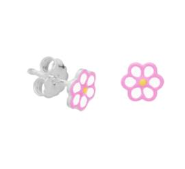 Zilveren oorbellen roze bloem stekers