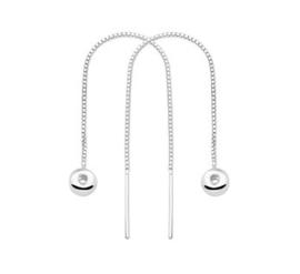 Zilveren doortrek oorbellen bolletjes lang