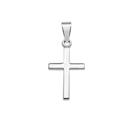 Zilveren bedel kruisje glad 15 mm