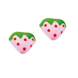 Zilveren oorsteker met aardbei roze