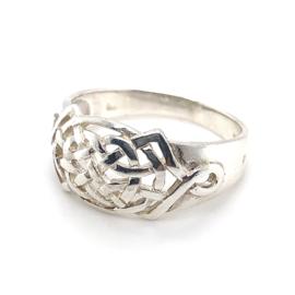 Zilveren ring vrije vorm grote maat 21,75 - 23 x 12 mm