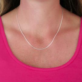 Zilveren collier/ketting venetiaans 45 cm x 0,9 - 1,7 mm
