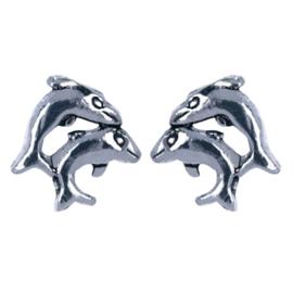 Zilveren kinderoorbellen dubbele dolfijn stekers
