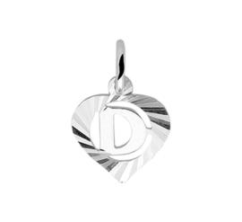 Zilveren bedel hartje met de letter D