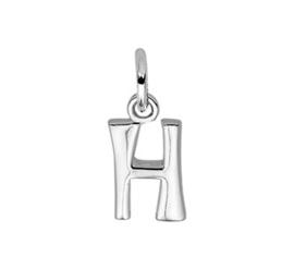Zilveren bedel letter H