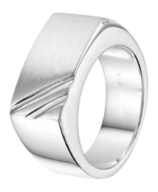 Zilveren ring zegelring graveerring strepen mt 18-21