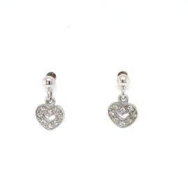 Zilveren oorhangers met hartje zirkonia