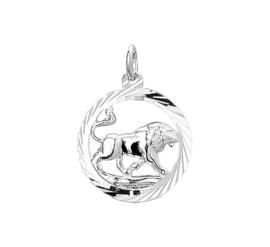 Zilveren bedel met leeuw sterrenbeeld
