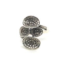 Zilveren ring vrije vorm geoxideerd mt 19,5 x 25 mm