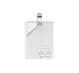 Zilveren graveerplaatje sterrenbeeld weegschaal 14 x 19 mm