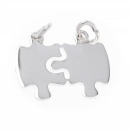 Zilver breekplaatje puzzelstukjes 19,5 x 15,5 mm