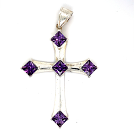 Zilveren bedel kruis groot paarse zirkonia