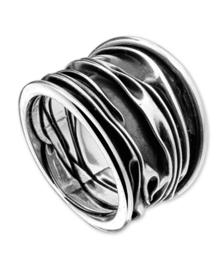 Zilveren ring geoxideerd groot 16,5 - 19 mm