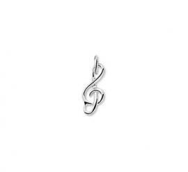 Zilveren bedel muzieksleutel klein