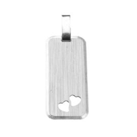 Zilver graveerplaatje langwerpig hartjes 12 x 25 mm