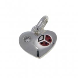 Zilveren bedel hart met zirkonia en lieveheersbeestje 10 mm