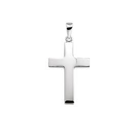 Zilveren bedel kruis glad 27 mm