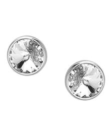 Zilveren oorknoppen strass rond 9 mm