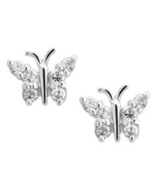 Zilveren oorbellen vlinders zirkonia