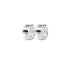 Zilveren klapcreolen bolle buis 5 mm mat