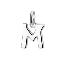 Zilveren bedel letter M