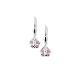 Zilveren kinderoorbellen vlinders hangers roze parelmoer
