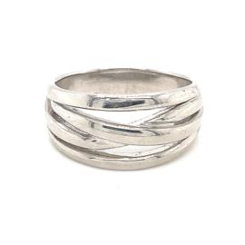 Zilveren ring vrije vorm mt 21 x 16 mm