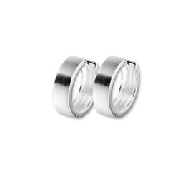 Zilveren klapcreolen vlakke buis 5 mm mat