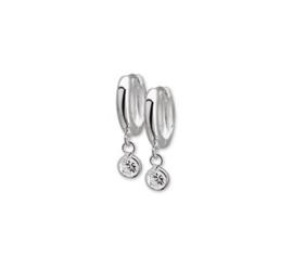Zilveren klapcreolen half rond 3 x 12,5 mm met zirkonia hangertje