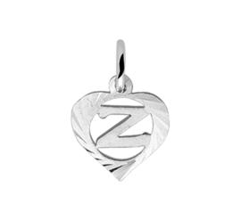 Zilveren bedel hartje met de letter Z