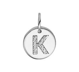 Zilver bedel rondje met letter K Zirkonia gerhodineerd