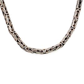 Zilveren koningsketting geoxideerd lang 75 cm x 5,5 mm