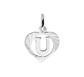 Zilveren bedel hartje met de letter U