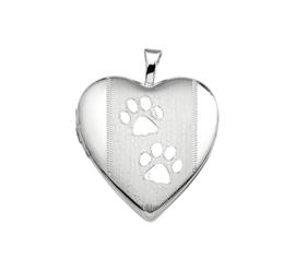 Zilveren bedel medaillon hart hondepootjes 21 mm