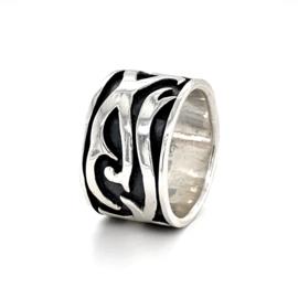 Zilveren ring heren tribal