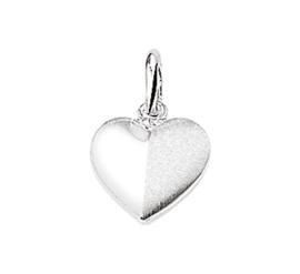 Zilveren bedel hart half mat + half glans 10,5 mm