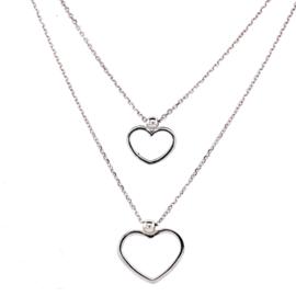 Zilveren ketting dames met hartje zirkonia 41 - 45 cm