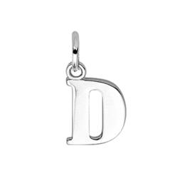 Zilver hanger letter D gerhodineerd