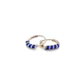 Zilveren creolen donker blauw 12 mm